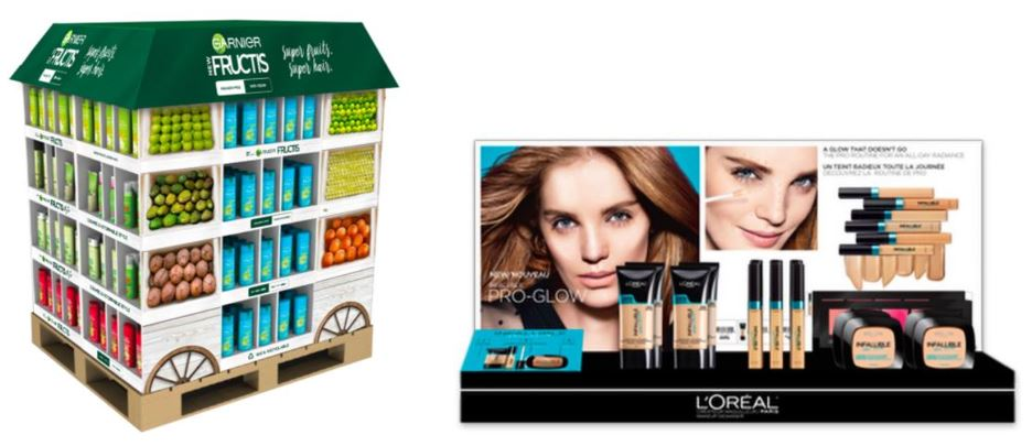 Example of a display made for Garnier as well as one created for L'Oréal, both created on behalf of Comunidée