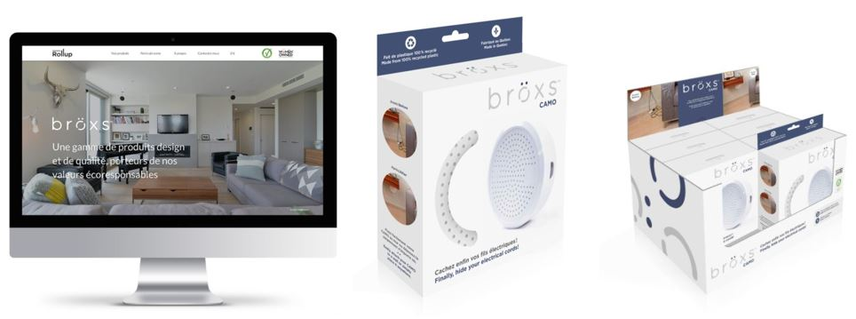 Design of the bröxs website as well as the product box and counter display