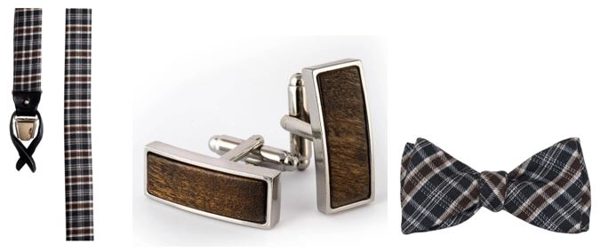 A Cochic set of suspenders, chic cufflinks and bow tie!