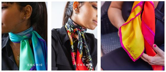"Lady Cochic silk scarves includes the ""Summer Twilight"" scarf, a favorite from Cochic ambassador Me Sophie Mongeon."
